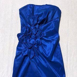 Jessica McClintock Strapless Blue Flower MiniDress
